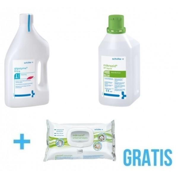 Gigazyme X-tra 2L Do Dezynfekcji Narzędzi  + Mikrozid AF Liquid Do Powierzchni  + Gratis : Universal Wipes Chusteczki