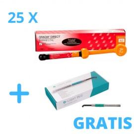 25 x Strzykawek Gradia Direct 2,7 ml + Gratis Lampa D-Light Duo