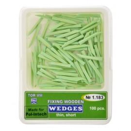 Kliny drewniane zielone - cienkie krótkie (Opakowanie 100 szt)