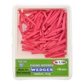 Kliny drewniane - różowe (opakowanie 100 szt)