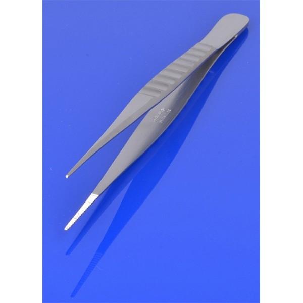 Pinceta anatomiczna 15,5 cm, wąska, karbowany uchwyt PR-238