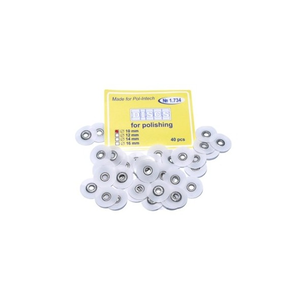 Krążki polerskie na standardową mandrelkę na rynku (op.40 szt.) 10 mm - białe superfine (1.734)