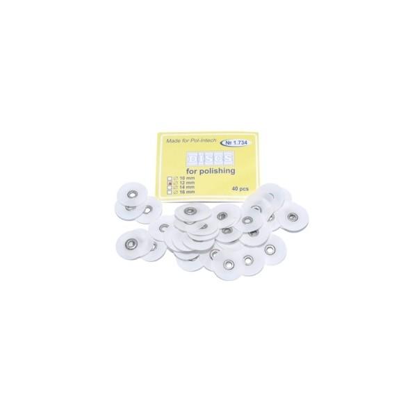 Krążki polerskie na standardową mandrelkę na rynku (op.40 szt.) 12 mm - białe superfine (1.734)