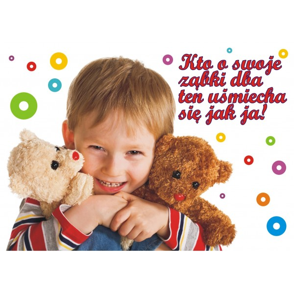Plakat chłopczyk z misiami